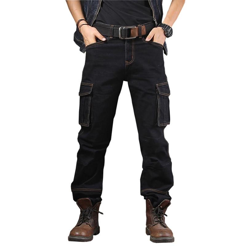 سراويل جينز عصرية للرجال بجيوب متعددة. سراويل جينز رجالية فضفاضة المناسب للدراجات النارية مقاس 29-44