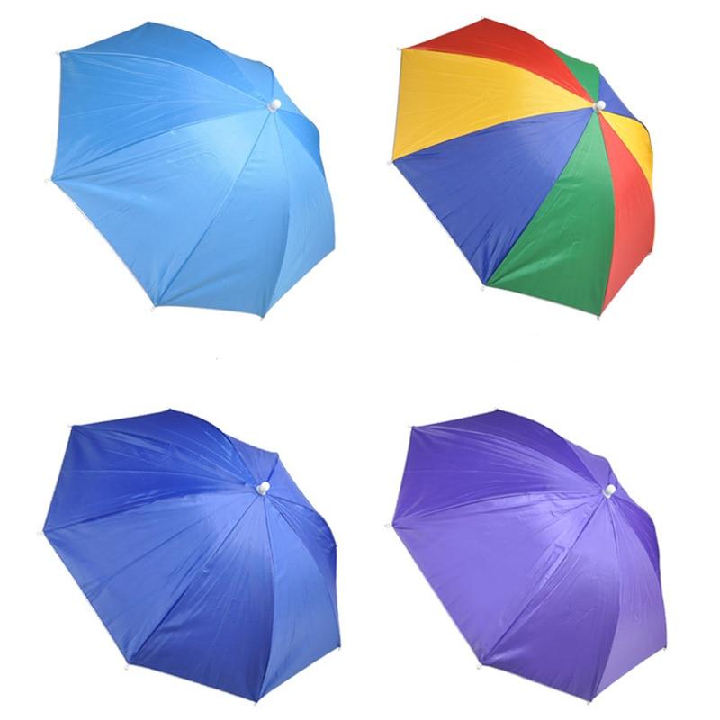 Gorro plegable de 54/70CM, sombrilla Anti-UV, sombrilla portátil antilluvia, sombrero de pesca, senderismo, Camping, sombrilla de cabeza para exteriores, lluvia