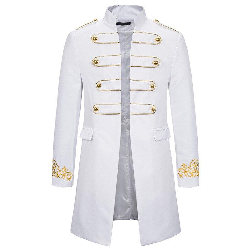 Блейзер Мужской в стиле милитари, белый блейзер под смокинг с воротником-стойкой, пиджак для ночного клуба, сцены, Косплея
