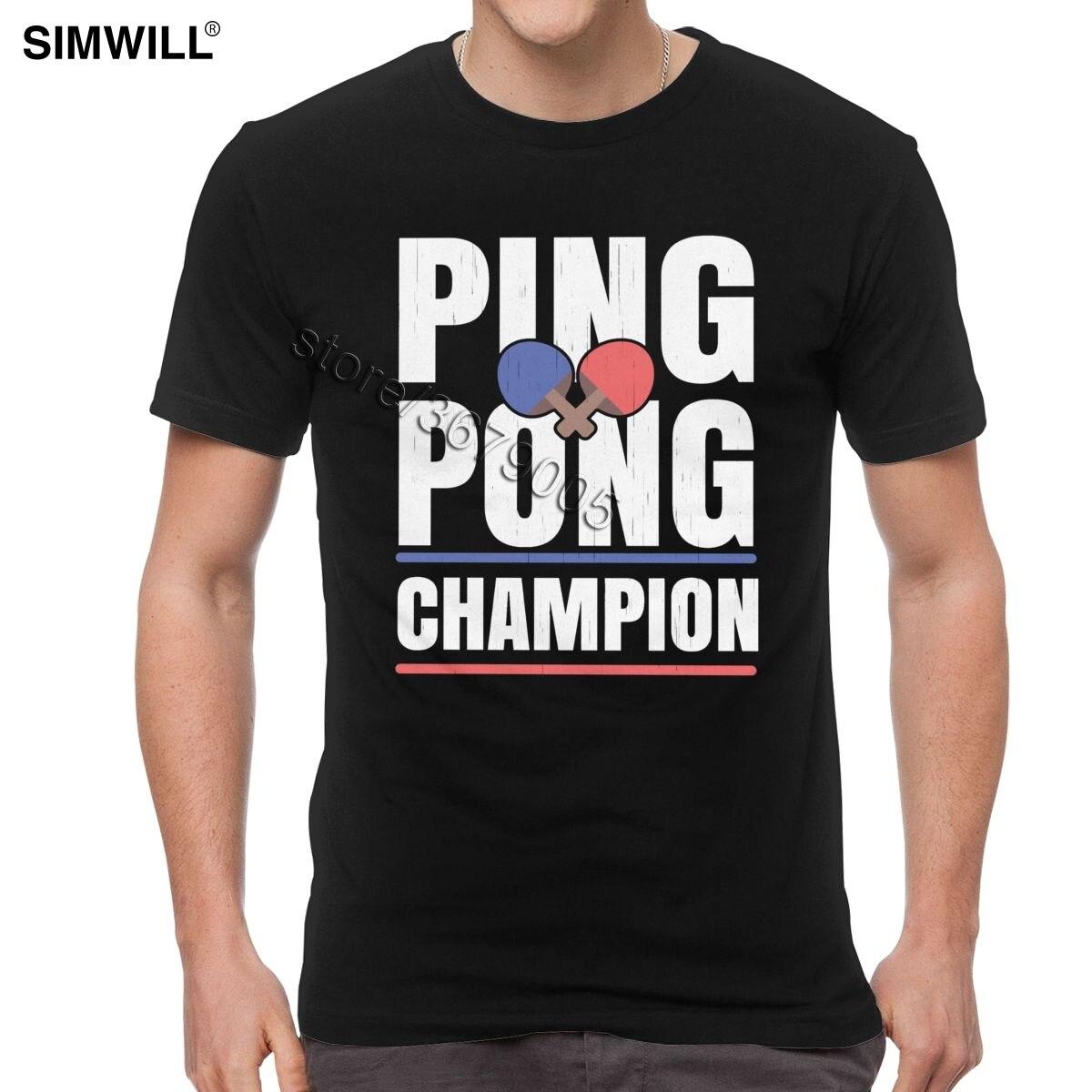 Camisetas Retro de Ping Pong de algodón de verano para hombre, camiseta de manga corta con cuello redondo, camisetas Casuales