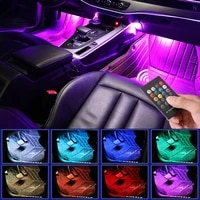 led car foot light ambient lamps with usb wireless remote music control multiple modes automotive interior decorative lights