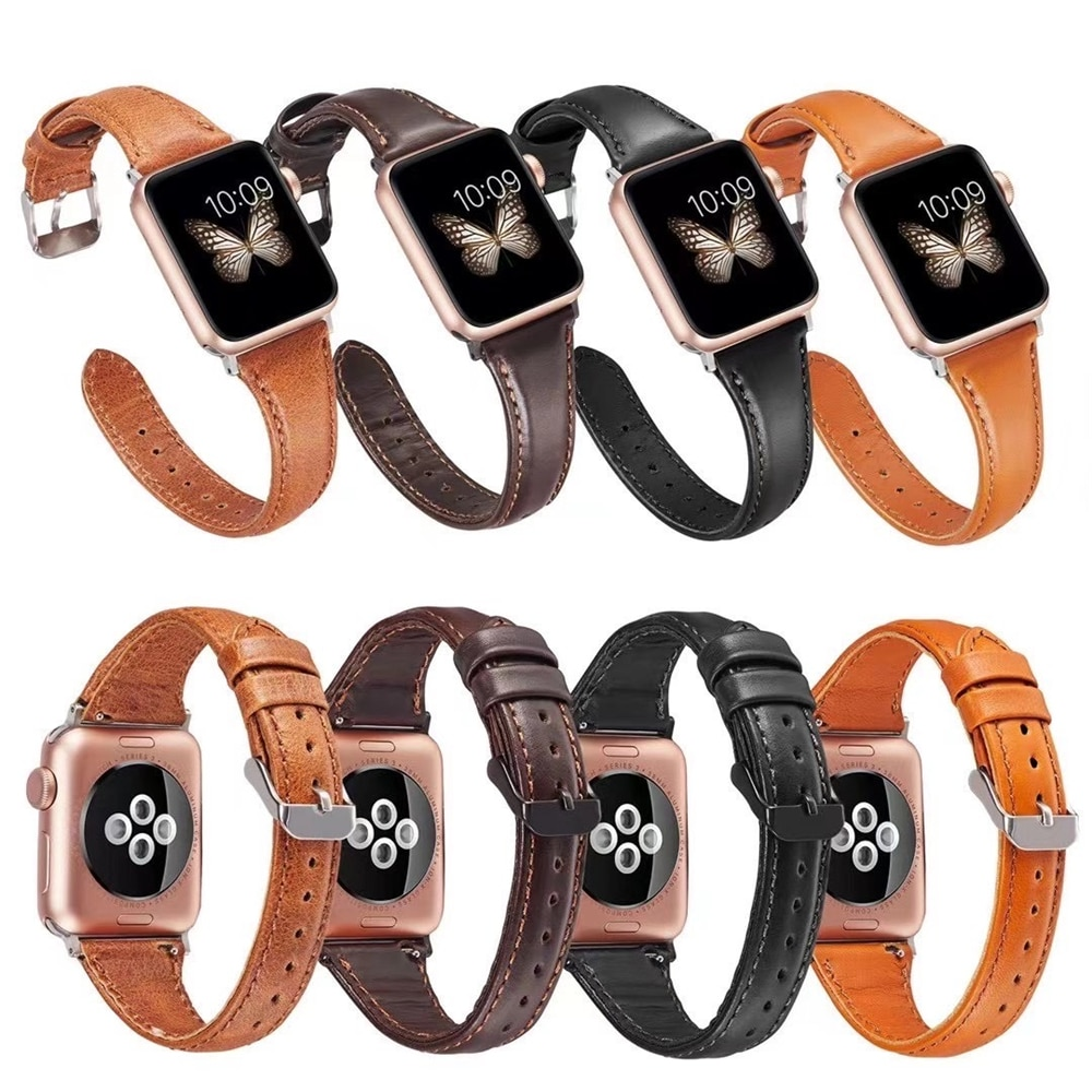 strap genuine leather bands for apple watch 38mm 42mm 40mm 44mm smart watches band for i watch series 5 4 3 2 1 women s bracelet 100% Genuine Leather Band For Apple Watch 6 Se 44mm 40mm  Leather Strap Watch Band For Apple Watch 5 4 3 2 44mm 42mm 40mm 38mm
