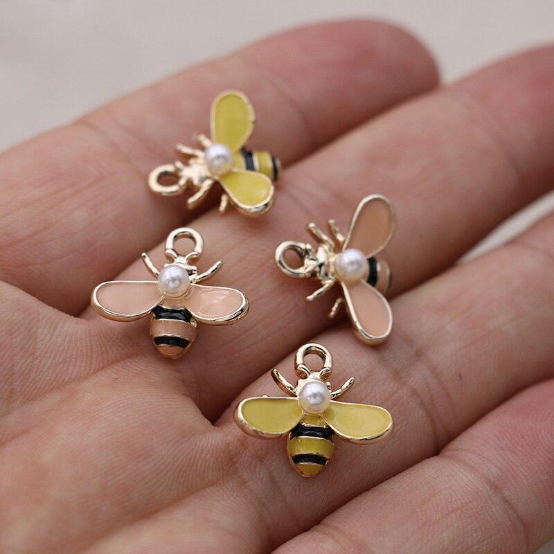 10 pçs esmalte 3d abelha encantos pingente para fazer jóias brincos pulseira colar acessórios diy artesanato 18x16mm