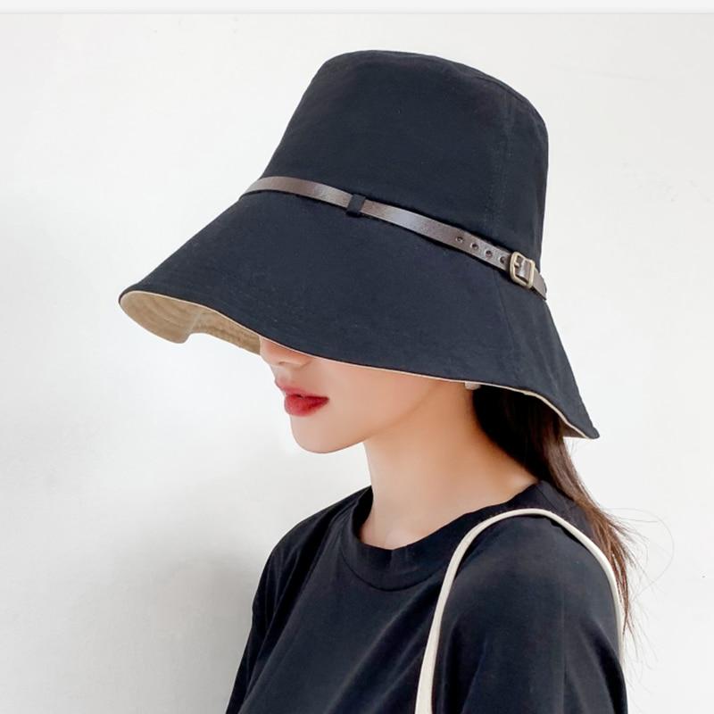 New Anti-UV Hat Spring Summer Women Solid Flat Top Fishing Cap Sun Hat Panama Fisherman Hat Packable Bucket Hat