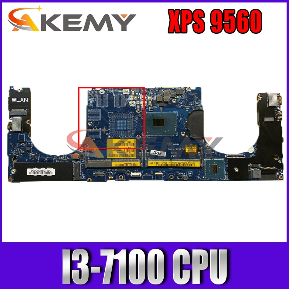 Akemy I3-7100 لأجهزة الكمبيوتر المحمول DELL XPS 9560 اللوحة الأم LA-E331P CN-0WCGRR WCGRR اللوحة الرئيسية 100% اختبارها