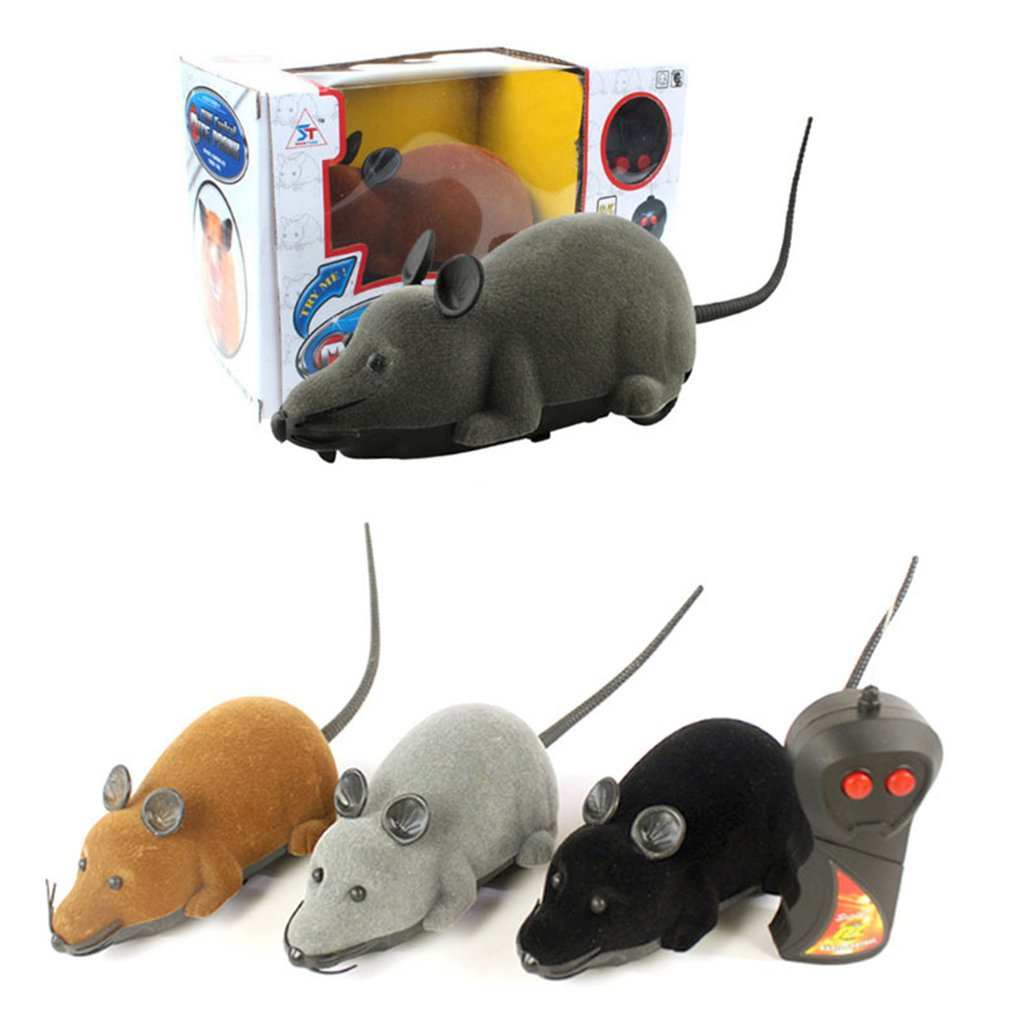 Funny Wireless Electronic Wear Resistant Remote Control Mouse Cat Toy Back Pet Simulation Turning Tr