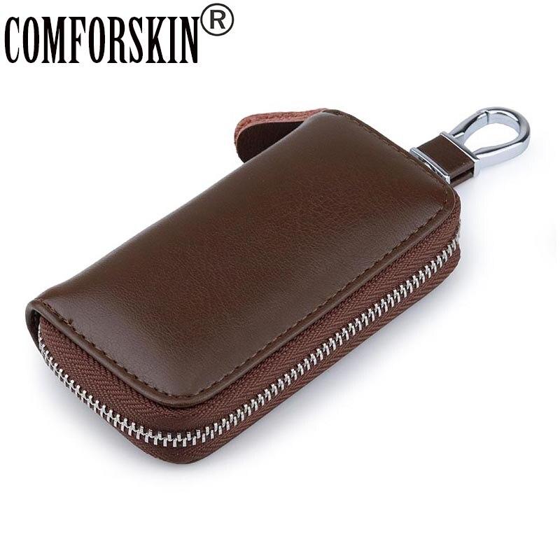 Новинка, мужской кошелек для ключей COMFORSKIN из сплит-кожи, многофункциональный держатель для ключей унисекс, мужские автомобильные Брелоки д...