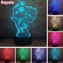 Amroe 3D illusion princesse Elsa lampe de bureau reine des neiges LED 7 couleurs changement veilleuse maison chambre lampes créatives filles cadeaux de noël