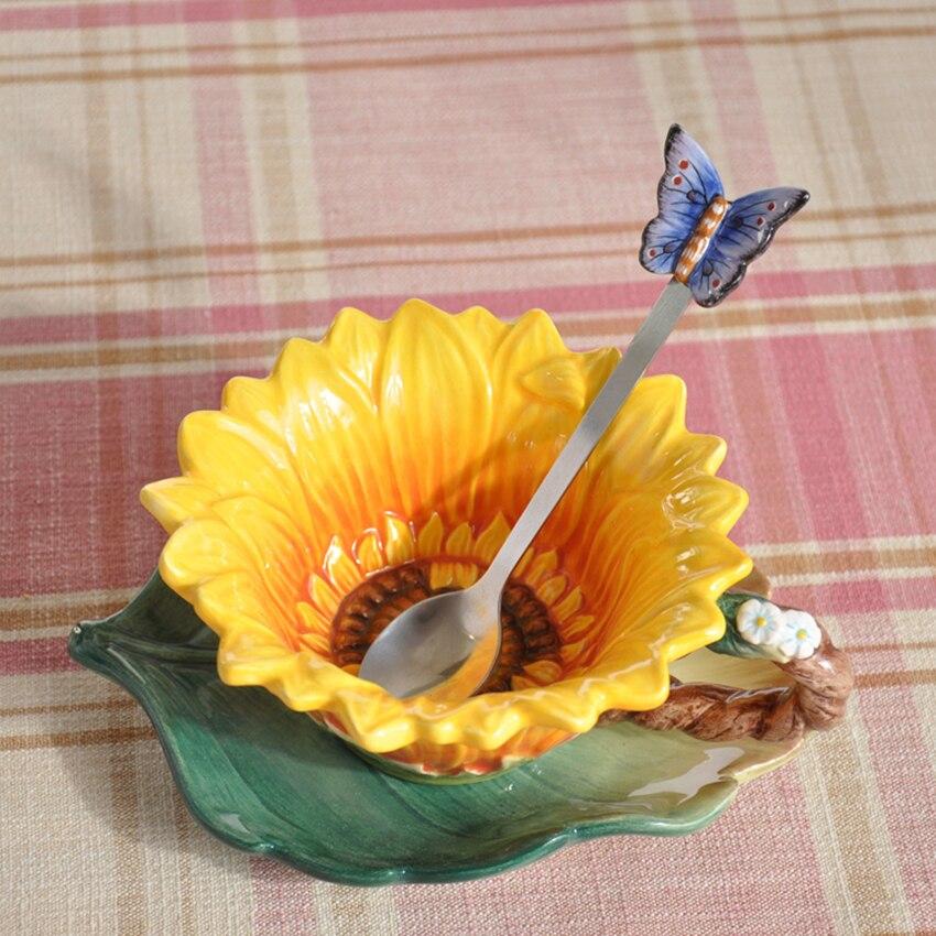 طقم شاي وطبق عباد الشمس مع ملعقة ، هدية حفلة شاي ، بورسلين مرسوم باليد فنجان شاي ، طاولة طعام وطاولة