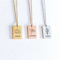 tangula customized name necklace stainless steel birthday pendant birth month flower dainty name tag floral bouquet necklace