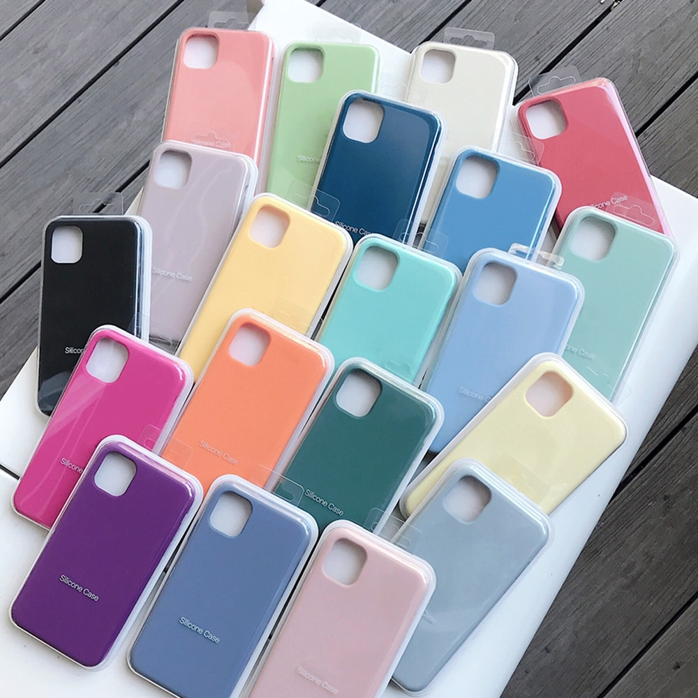 Official Original Silicone Case For iPhone 12 Mini XR XS X 7 8 6 6S Plus Case For iPhone 11 12 Pro M