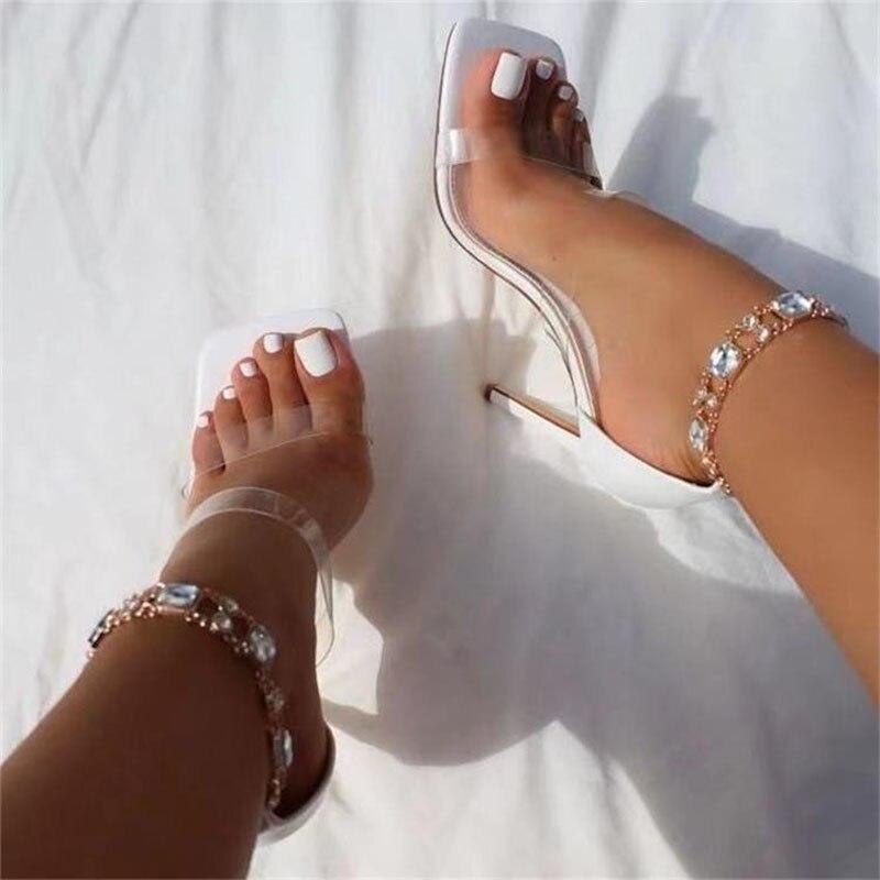 النساء عالية الكعب حجر الراين أحذية بو موضة جديدة Stiletto مشبك مربع اصبع القدم الصنادل الإناث مثير مضخات السببية حفل زفاف حذاء