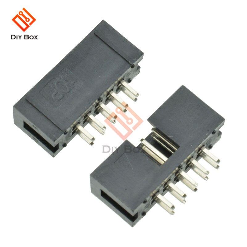 5 uds 10 Pin 2x5 Pin doble fila 2,54mm paso recto Pin macho conector de cabeza de caja