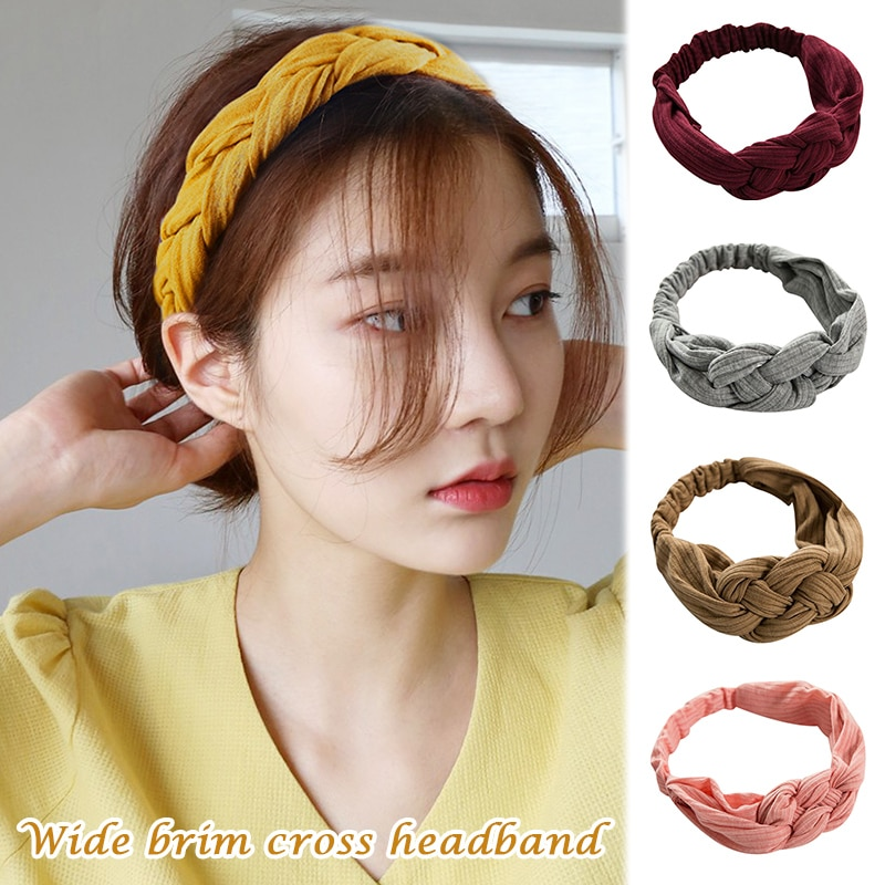 Acessórios para o Cabelo Pçs do Vintage nó para Mulher Boho Woolen Malha Trançado Bandana Feriado Étnico Hairband Torção Menina SA 2