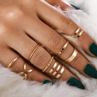 8 pieces set gold plated geometric twist cross ring set suitable for women 2021 classic smooth joint ring womens jewelry