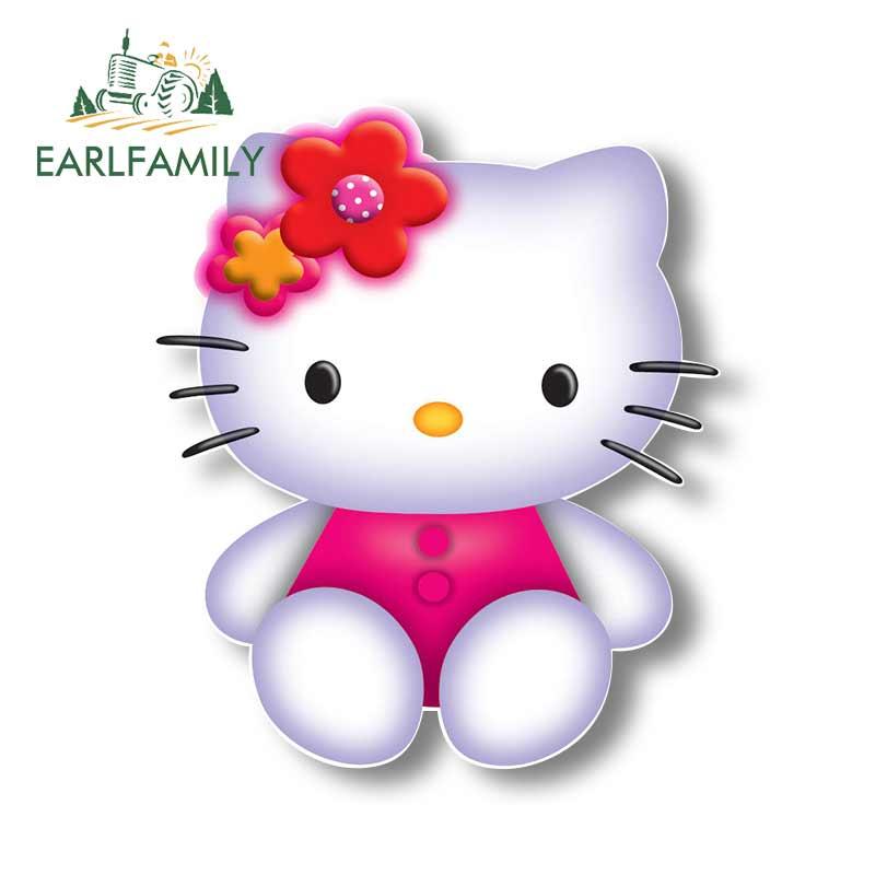EARLFAMILY, 13cm x 11cm, para gráficos de dibujos animados de Hello Kitty 3D, pegatina para coche JDM, pegatina para motocicleta, decoración de vinilo para coche personalizado