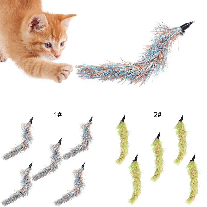 5pcs Cat Teaser Wand Toys Colorful Interactive Chase Rod Replacement Refill Plush Worms Pet Cats Training Playing Stick Toy