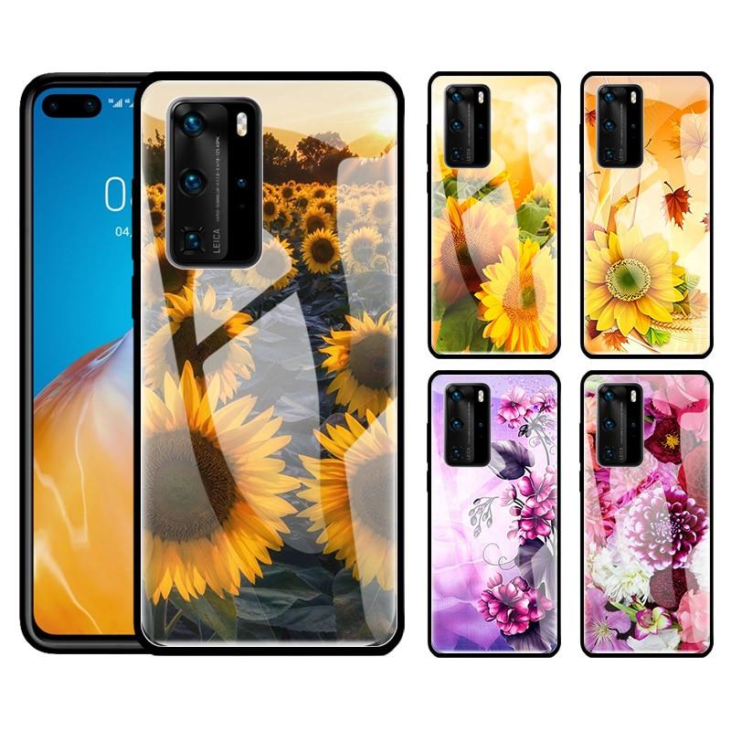 Funda de vidrio templado para Huawei P40 Lite P30 P20 Lite P30 P40 Pro + P Smart Pro 2019 Z, funda de teléfono roja, amarilla, rosa y girasol