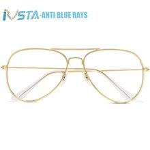 IVSTA авиационный синий светильник, блокирующие очки, компьютерный Пилот 3026, анти Синие лучи, роскошный брендовый дизайн, золотые металлические мужские и женские розовые очки