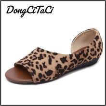 DongCiTaCi Summer Leopard Snake Print Women Wedges Sandals Shoes Women Casual Low Heels Sandals Peep