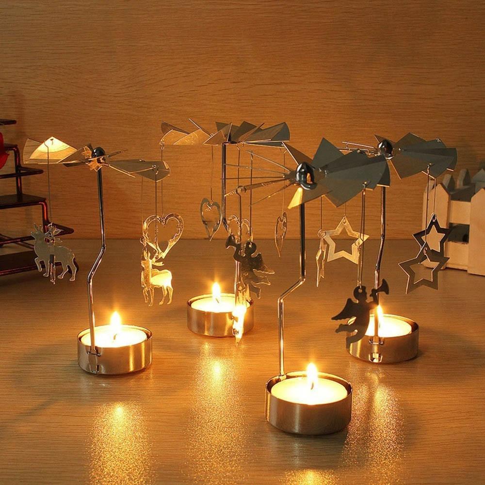 Candelero giratorio de Metal para Vela, candelero para lamparilla, candelabro de regalo de Navidad, 1 pieza