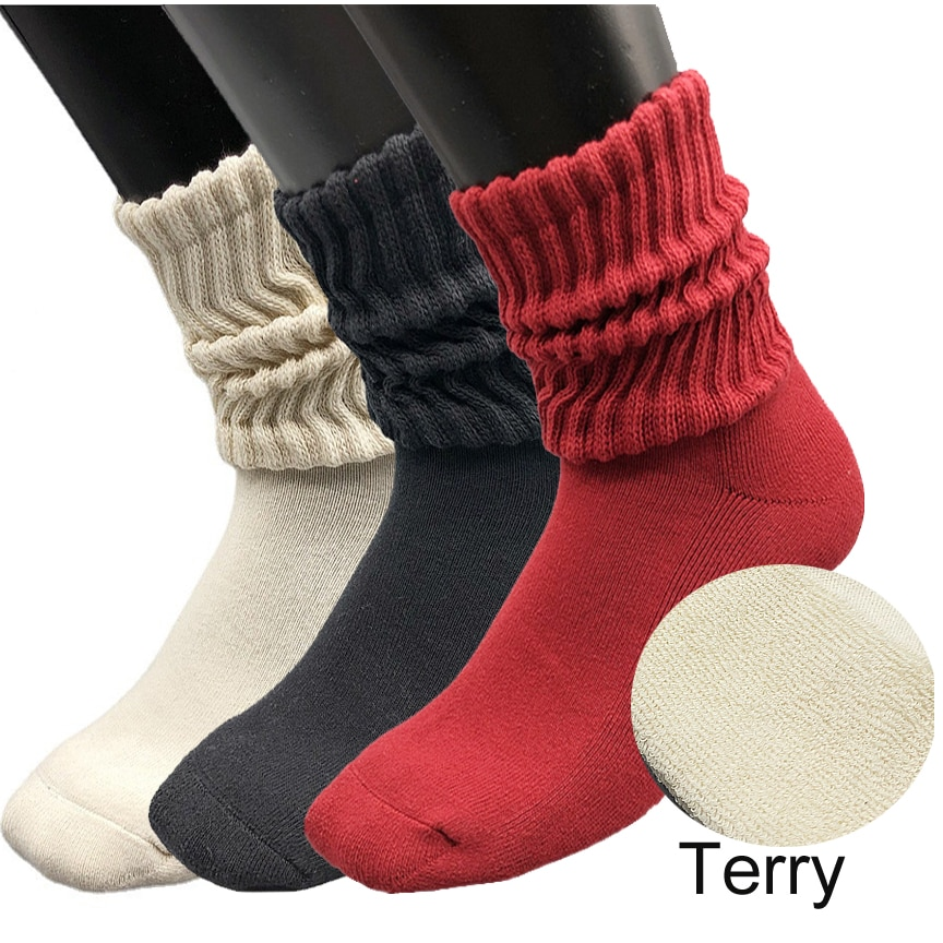 3 Pack Extra Long Loose Cotton Thick Terry Boot Slouch Socks for Women