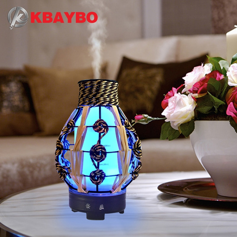 KBAYBO 120ML ultrasonic air humidifier hollow electric aromatherapy essential oil diffuser with 7 color LED light purifier