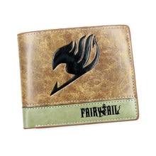 Anime Fairy Tail Khaki PU cuero cartera corta titular de la tarjeta monedero con bolsillo interno de la moneda