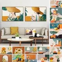 still life flower art poster modern abstract small fresh sunflower plant vase fruit cat hat girl bedroom wall bedside decoration