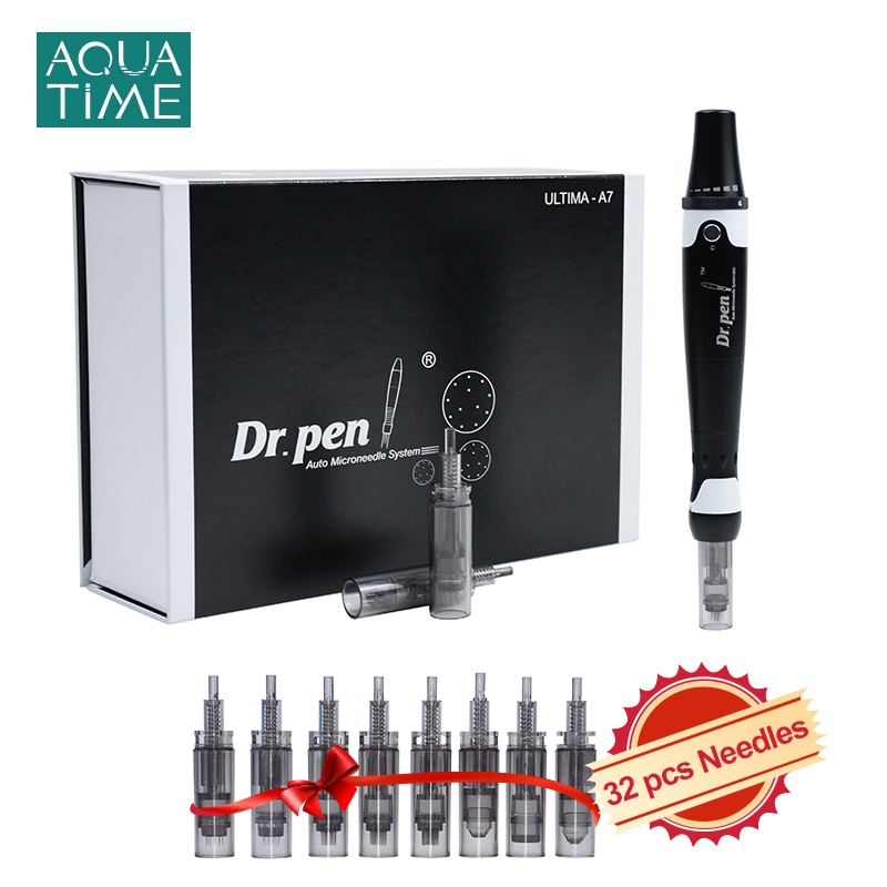 Dr Pen Ultima A7 with 32 Pcs Needle Cartidges Wired Microneedling Electric Derma Pen with 12 36 42 Nano Needles