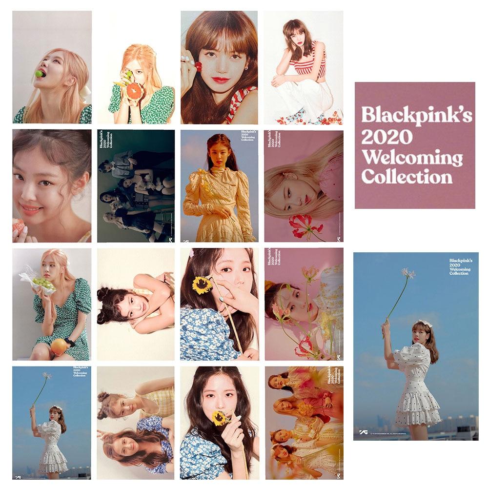 16 pçs/set BLACKPINK 2020 Acolhedor Coleção kpopBLACKPINK photocard Kpop Cristal foto lomo Cartão de adesivos