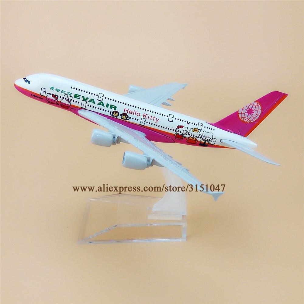 Aleación de Metal rosa EVA AIR HELLO KITTY A380 aerolíneas avión modelo Airbus 380 avión modelo soporte avión para niños regalos 16cm
