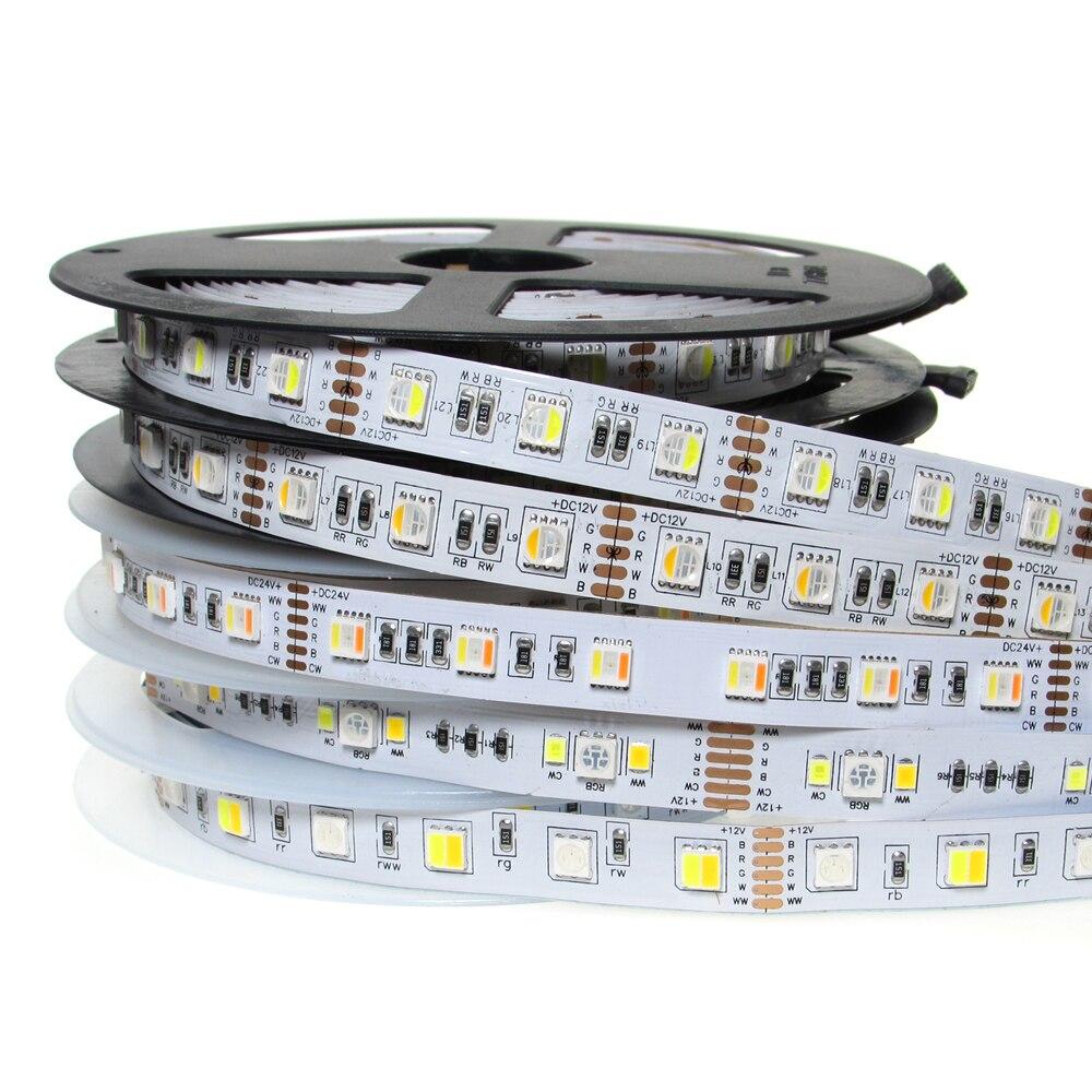 Tira de luz LED 12V SMD 5050 4in1 5in1 RGB + AAC 60leds/m 5 colores en 1 Chip de CW RGB + WW RGBW RGBWW TV Led tira RGB cinta blanco cálido