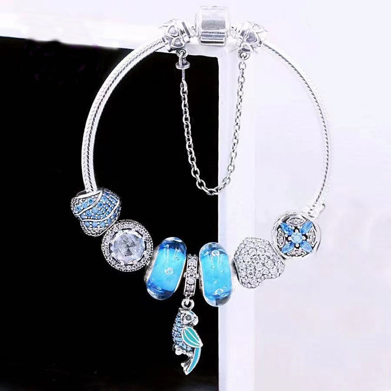 S925 Sterling Silver Blue Cz Parrot Pendant With Glass Beads And Classic Button Bracelet The Most Popular Diy Jewelry For Women
