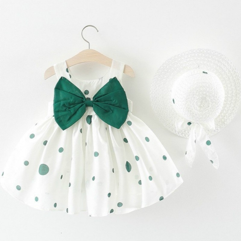 Vestido para niñas, novedad de verano 2019, ropa para niños, niña, lazo lunares, sombrero de paja, vestido de princesa