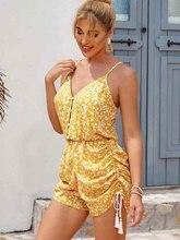 Yinlinhe jaune imprimé cordon combishort été salopette pour femmes dos nu bouton combinaison femmes barboteuse Sexy plage tenue 1770