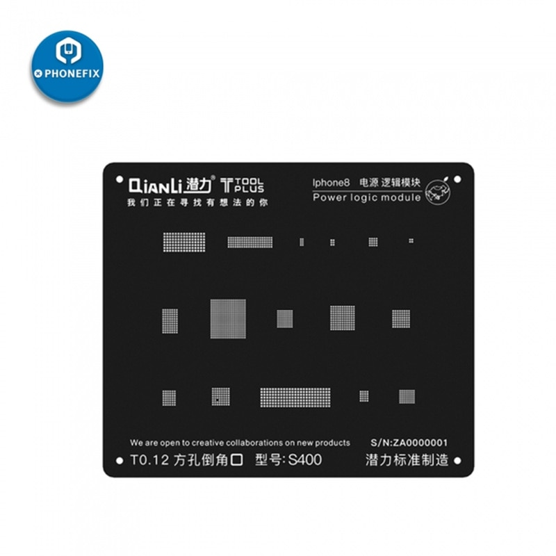 Plantilla de Reballing QianLi 3D BGA de 0,12 MM para iPhone 6S 7 8 X Power Logic, planta de reparación de soldadura de estaño, plantilla de soldadura, malla de acero