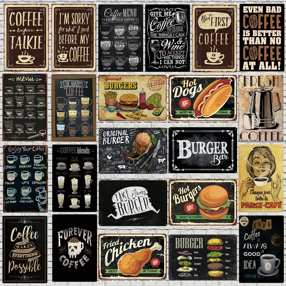 Chalkboard Art Coffee Menu Metal Sign Burger Bar Decorative Signs  Wall kitchen Cafe Shop Home Art Craft Decor 30X20CM XP(947)A
