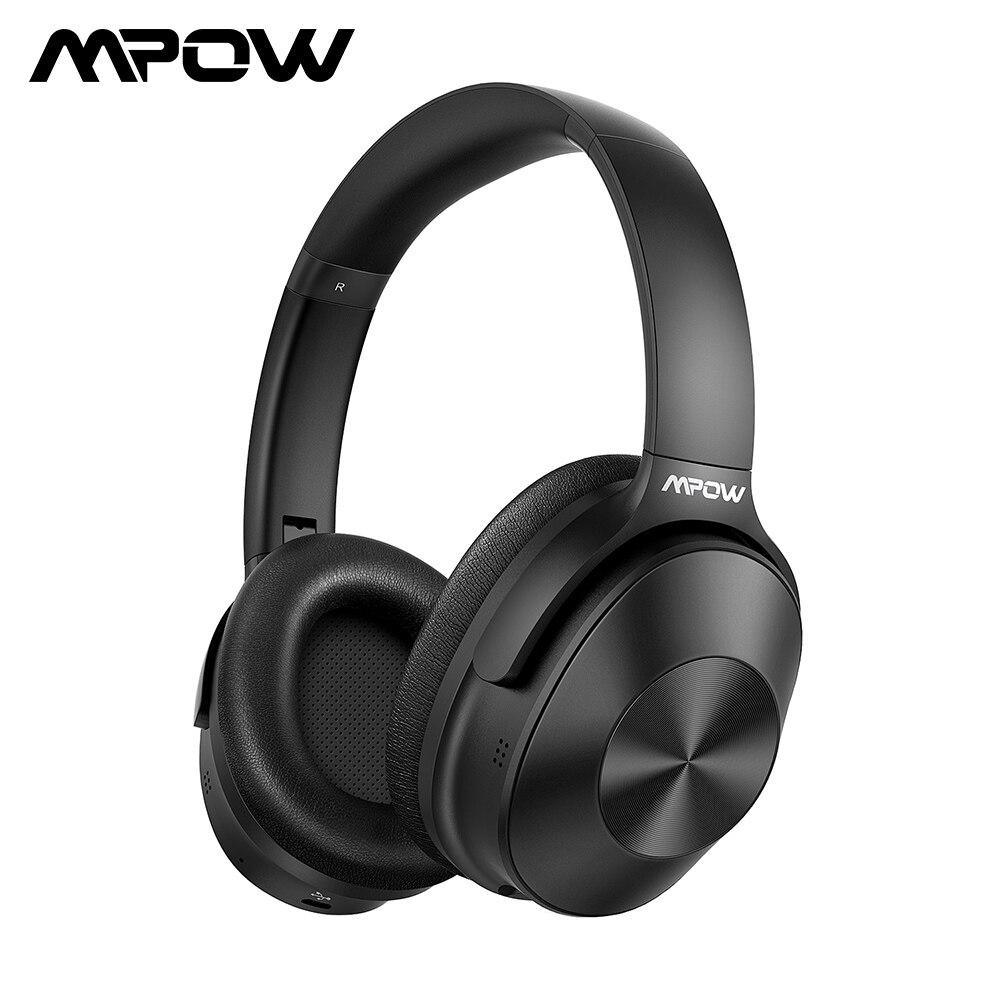 Fones de ouvido sem fios mpow h12 anc, com bluetooth, cancelamento de ruídos, com 30 horas de reprodução, graves profundos, para smartphone