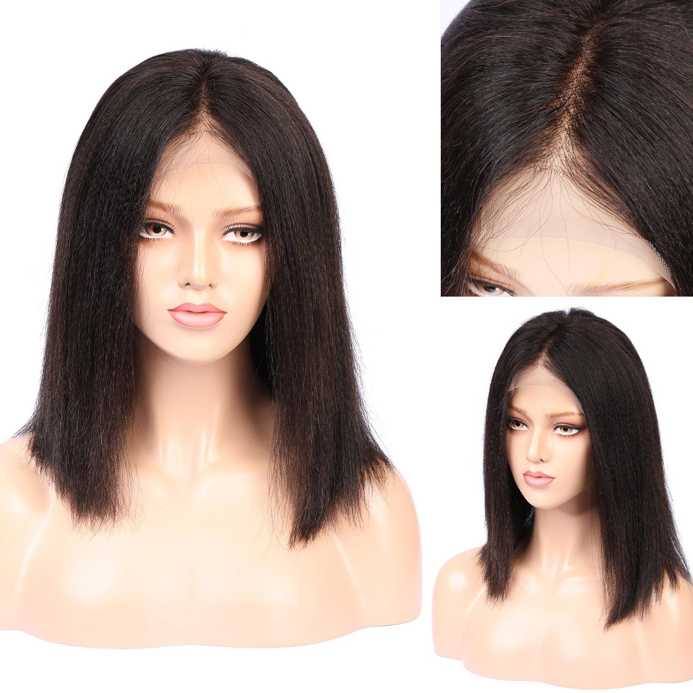 ياكي مستقيم 180% الكثافة الطبيعية شعري قصير طويل غريب مستقيم الدانتيل الجبهة شعر مستعار شعر مستعار اصطناعي شحن مجاني الباروكات اليومية
