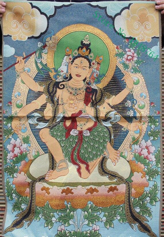 Pulgadas Tibet bordado de seda 3 cabezas 6 mano Parnashavari Buda Thangka...