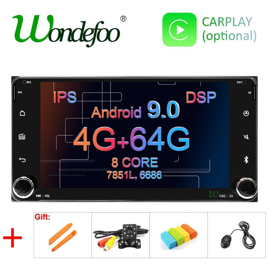 Android 9.0 dsp 64g ips tela 2 din gps para toyota universal rav4 corolla vios hilux terios land cruiser 100 prado rádio nenhum dvd