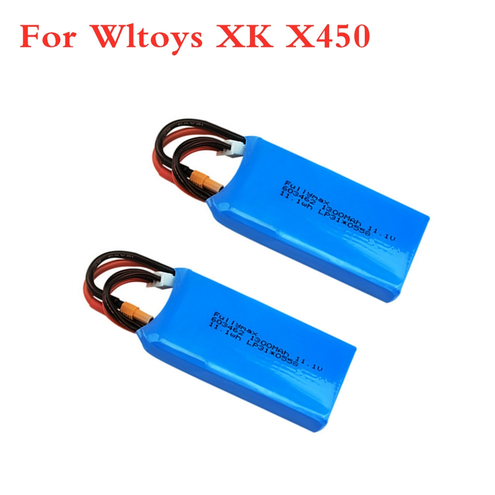 11.1V 1300mAh Lipo Battery For XK X450 FPV RC Drone Spare Parts 3s 11.1v Rechargeable Batteries XT30