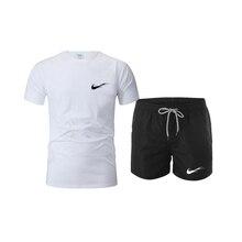 Men's Beach Shorts + T Shirt Set 2-piece set 2021 Summer New Brand Casual Suit Tracksuit Male Spor