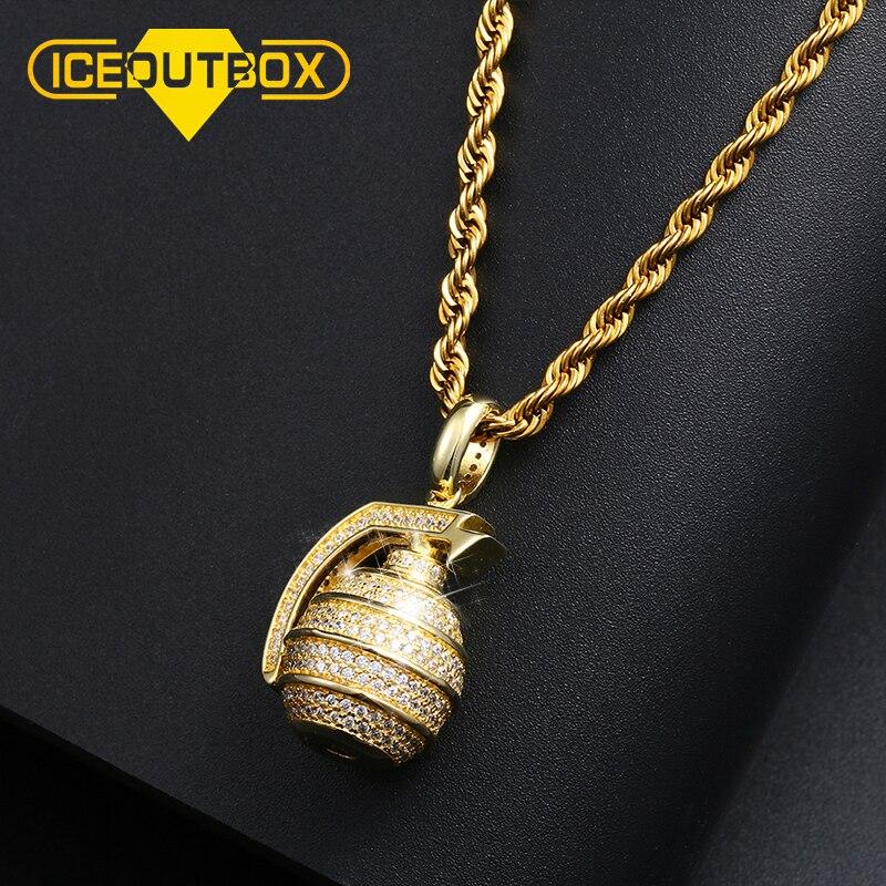 Hip Hop Iced Out Bling Hand Granada Bomb colgante collar Color oro plata para Mujeres Hombres cúbico AAA Zircon joyería de moda para fiesta