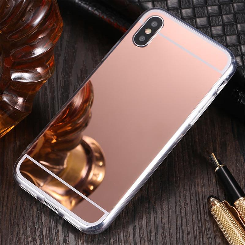 Espelho tpu estojo para apple iphone 11 pro xs max x xr 4g 5g 6g 7g 8g 7 8 6 s plus 5 5S se 4 4S espelho de maquiagem capa macia escudo