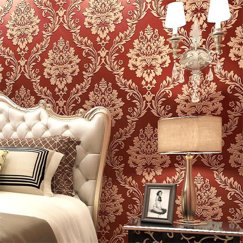 Papel tapiz tejido beibehang con diamantes en relieve 3d Damasco papel tapiz dormitorio Sala FONDO de TV papel tapiz papel de pared