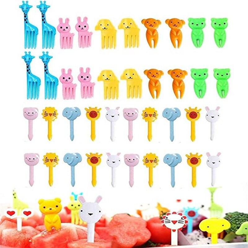 40 Uds comida fruta tenedor palillos para niños lindos animales Bento caja de decoración tenedores para tartas de postre Mini palillo de dientes de dibujos animados suministro de fiesta