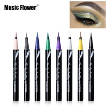 Crayon Eyeliner paillettes fleur de musique liquide maquillage des yeux imperméable longue durée stylo Eyeliner bleu argent illuminer or miroitant