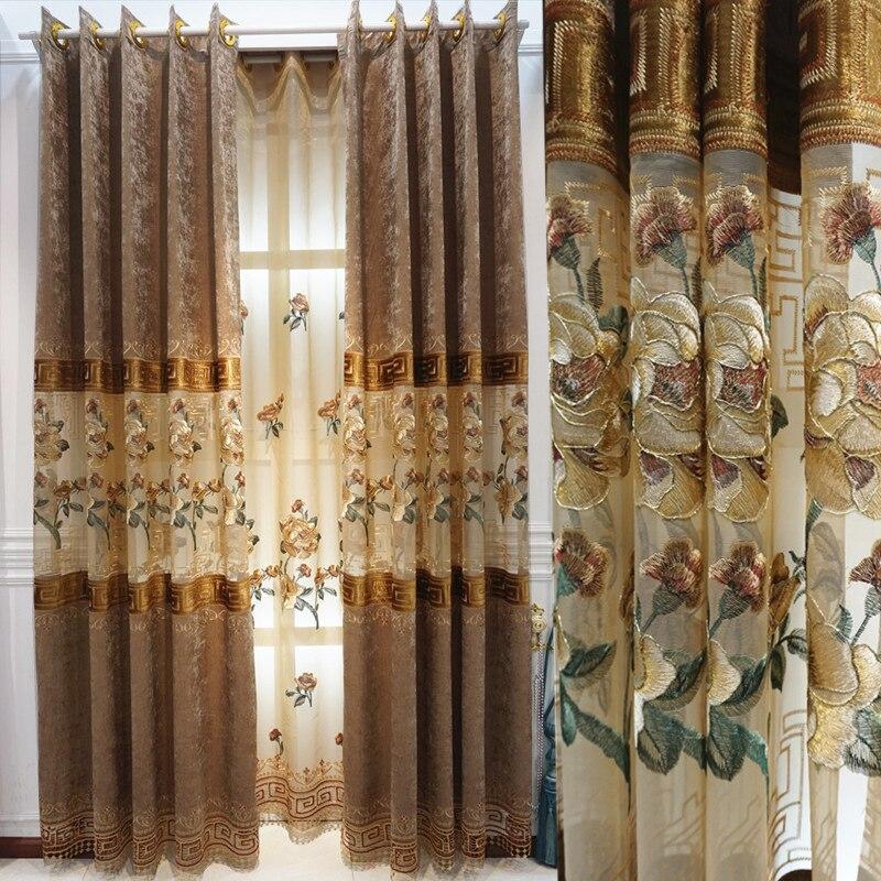 Modernas cortinas chinas de terciopelo soluble en agua con bordado de chenilla...